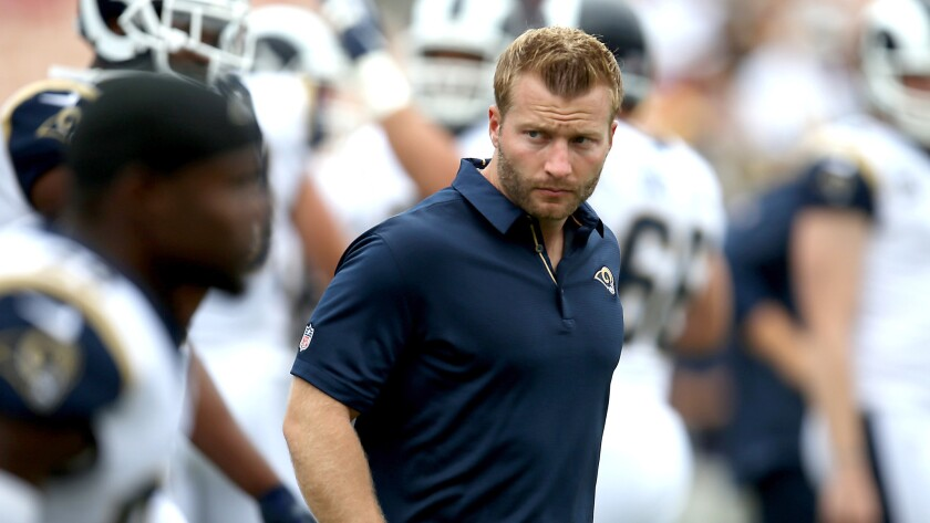 """When Rams coach Sean McVay was in high school, he """"was the most athletic guy on the field and the most savvy,"""" a teammate recalls."""