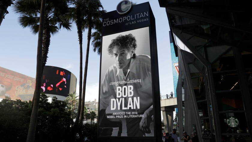 A sign outside of the Cosmopolitan of Las Vegas on Oct. 13 congratulates Bob Dylan after he won the 2016 Nobel Prize in literature.