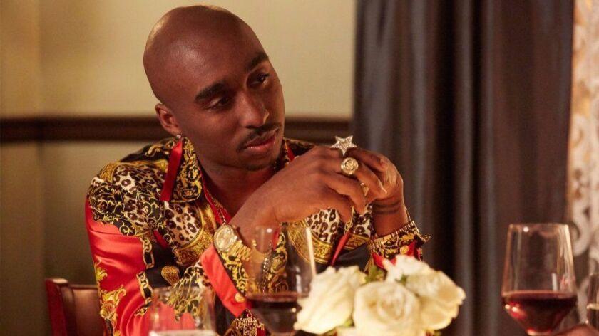 "Demetrius Shipp Jr. as Tupac Shakur in the film ""All Eyez On Me."" Credit: Quantrell Colbert / Codebl"