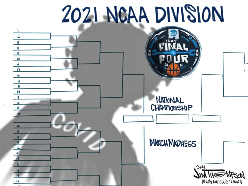 NCAA tournament bracket with COVID-19 shadow hovering over it.