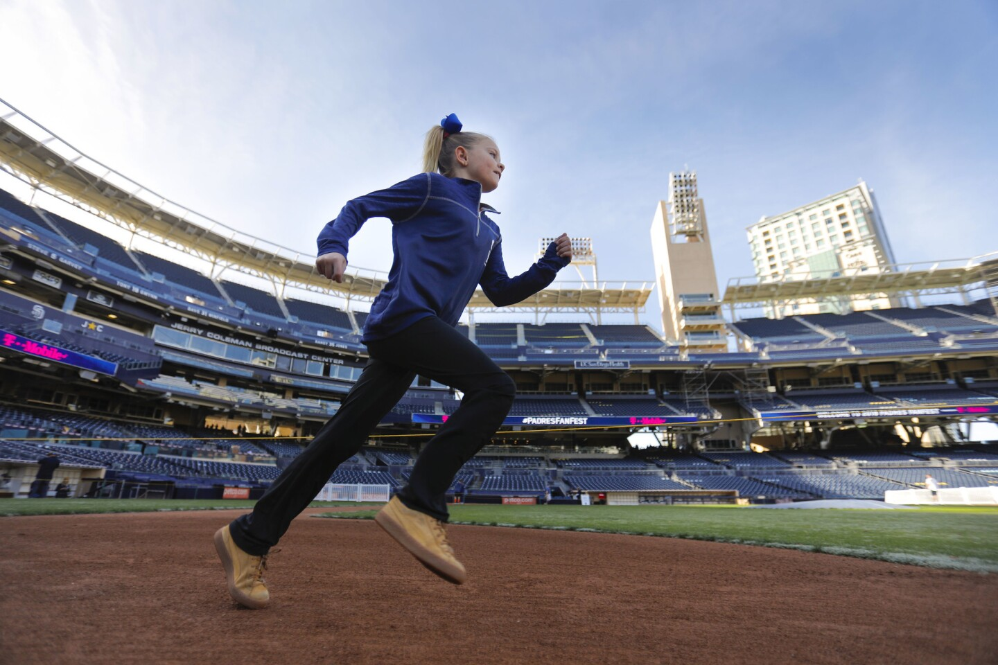 Nine-year-old Bailee Stevens of Fallbrook was one of the first to run the bases during the 2018 Padres FanFest at Petco Park.