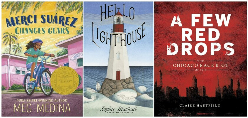 "American Library Assn. children's award winners include Meg Medina's ""Merci Suárez Changes Gears,"" which received the John Newbery Medal, Sophie Blackall's ""Hello Lighthouse"" and Claire Hartfield's ""A Few Red Drops: The Chicago Race Riot of 1919."""