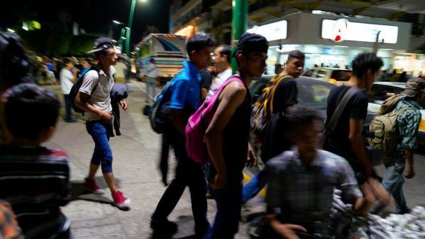Migrants in Tapachula, Mexico, after crossing the border from Guatemala.