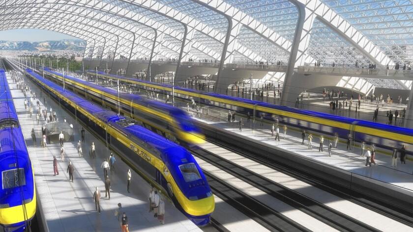 A conceptual station design for the future California bullet train shows a passenger platform.