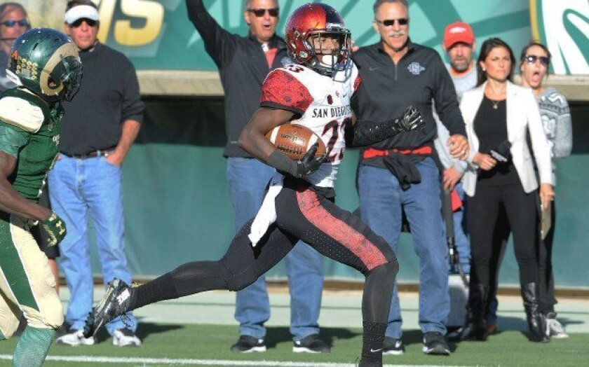Damontae Kazee returns an interception 55-yards for a touchdown against Colorado State.