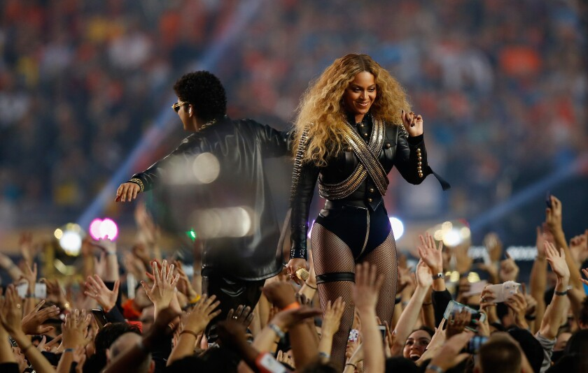 Beyonce and Bruno Mars perform during the Super Bowl 50 Halftime Show in Santa Clara in February.