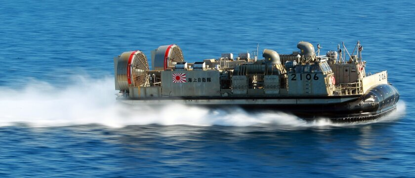 Dawn Blitz 2015, a multinational amphibious training exercise is being conducted on and off Camp Pendleton,Naval Base San Diego and a MCAGCT at Twenty-nine Palms, CA. involving US forces, Japan, New Zealand and Mexico.  A Japanese Maritime Self-Defense Force LCAC hovercraft vessel makes a pass duri