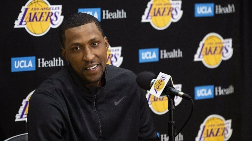 EL SEGUNDO, CA-APRIL 10, 2019: Kentavious Caldwell-Pope of the Los Angeles Lakers addresses the med