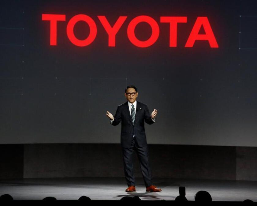 El presidente de Toyota Motor Corporation, Akio Toyoda, habla acerca del e-Palette durante el Salón Internacional de la Electrónica de Consumo 2018 (CES) hoy, lunes 8 de enero de 2018, en Las Vegas (EE.UU.). EFE