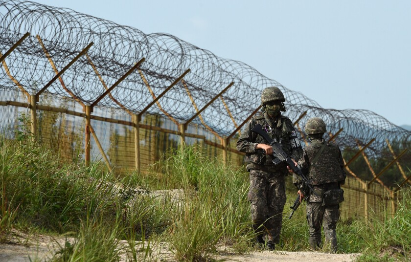 South Korean soldiers patrol near the demilitarized zone dividing North and South Korea on Aug. 9.