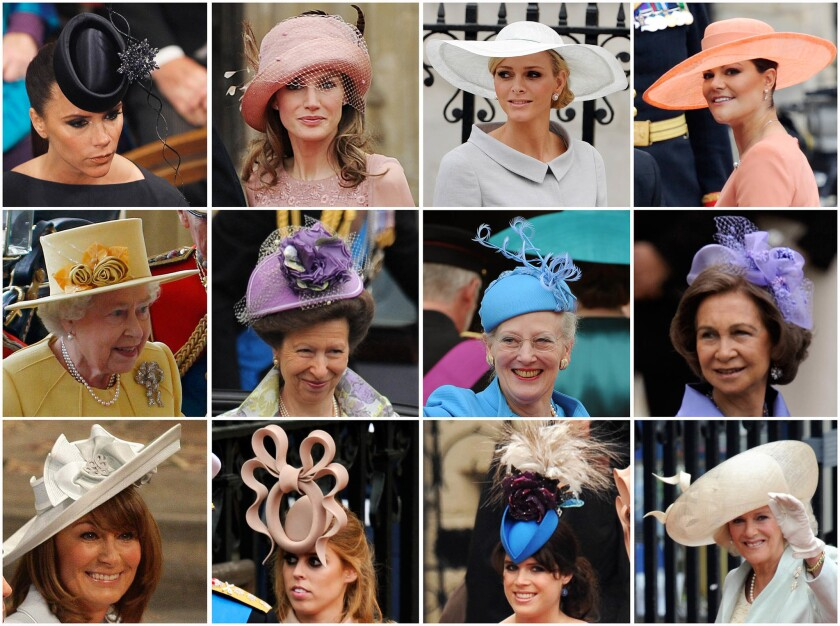 April 29, 2011: Montage of hats worn for the wedding ceremony of Prince William and Kate Middleton.