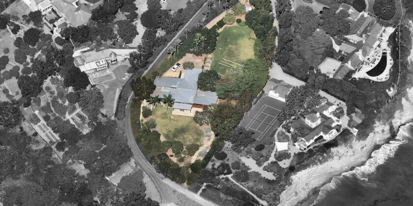 An aerial view shows the estate on a 1.25-acre bluff in Malibu's Point Dume area.