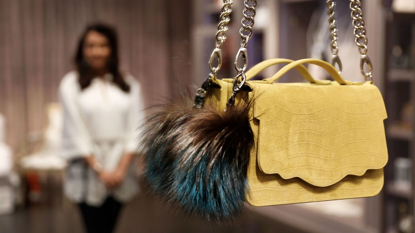 The Audreyette crossbody bag style at Thalé Blanc on Melrose Place is part of a larger collection that includes clutches and handbags adorned with items such as tassels, leather knot handles and Swarovski crystals.