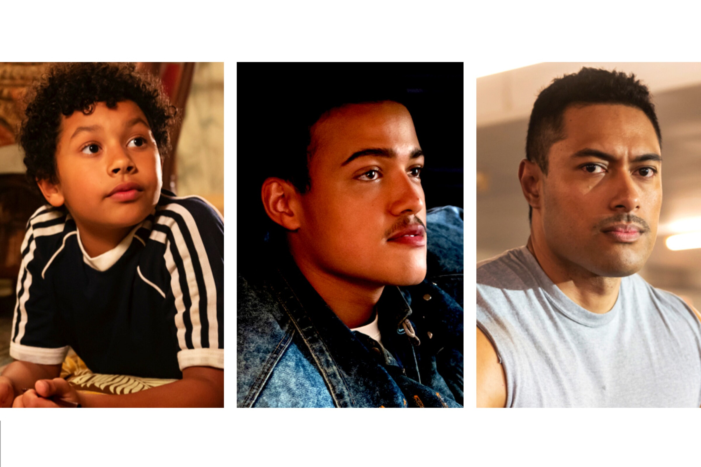 "In ""Young Rock,"" actors Adrian Groulx, Bradley Constant and Uli Latukefu play Dwayne Johnson at 10, 15 and 18 years old."