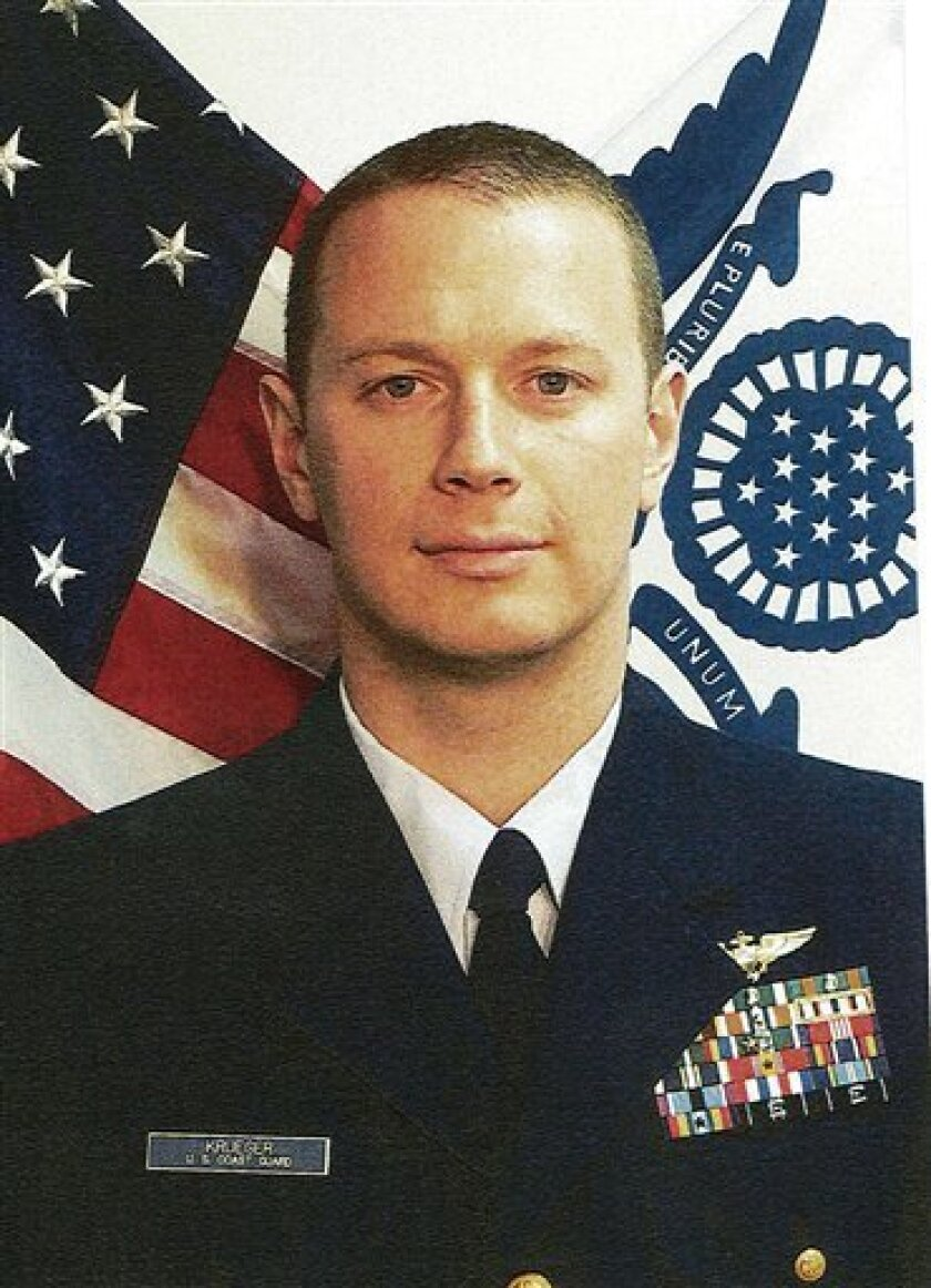 FILE -This undated file photo provided by the U.S. Coast Guard shows Lt. Sean D. Krueger of Seymour, Conn., who was killed in the July 7, 2010 helicopter crash near LaPush, Wash. Negligent homicide and other charges against Lance Leone, the sole survivor of a deadly 2010 Coast Guard helicopter crash, should be dismissed, an investigating officer has determined Leone faces charges stemming from a Coast Guard helicopter crash that killed 3 colleagues off the Washington coast in 2010. (AP Photo/U.S. Coast Guard, Petty Officer 3rd Class Nathan Bradshaw, file)