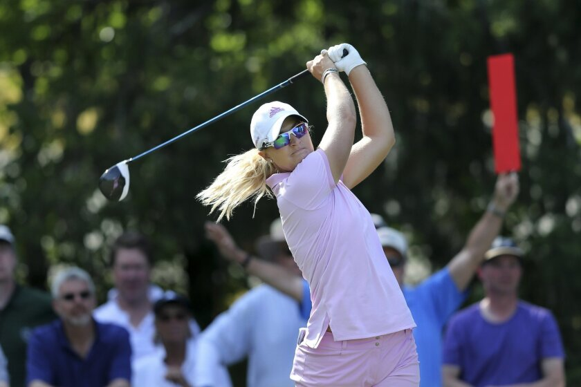 Anna Nordqvist, of Sweden, hits a tee shot on the 14th hole of the second round of the ShopRite LPGA Classic golf tournament, Saturday, June 4, 2016, in Galloway Township, N.J.(AP Photo/Mel Evans)