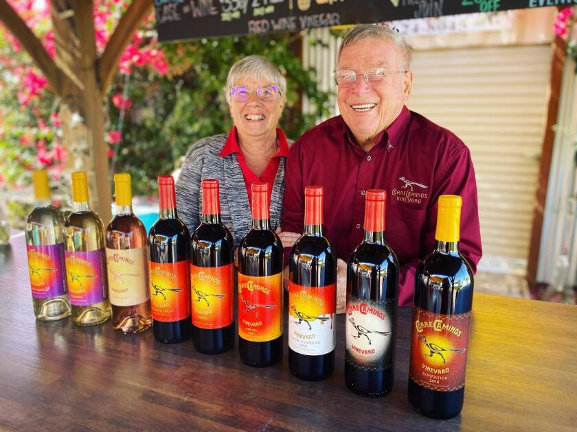 Correcaminos Vineyard owners Sue and Doug Robinson are happy that wineries can reopen with outdoor seating.
