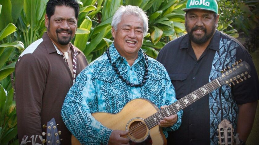 Masters of Hawaiian Music, from left to right, Nathan Aweau, George Kahumoko Jr. and Kawika Kahiapo.