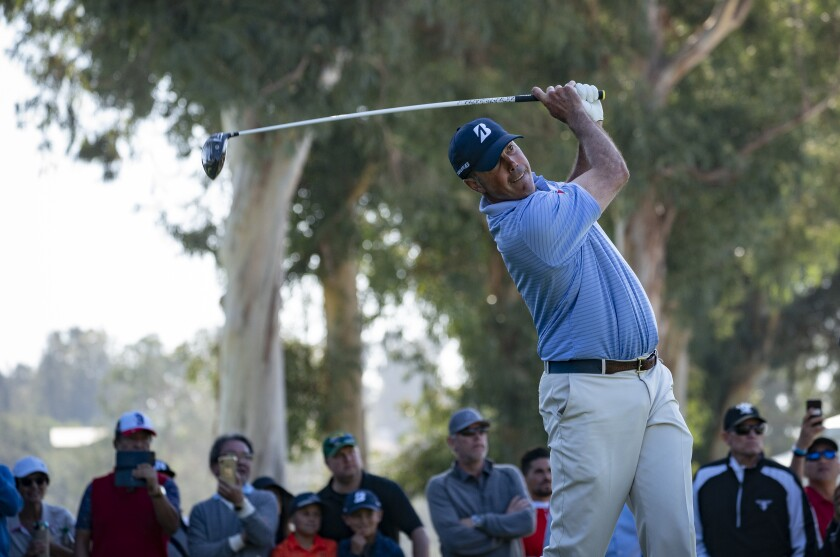 Matt Kuchar hits off the ninth tee during the second round of the Genesis Invitational on Friday.