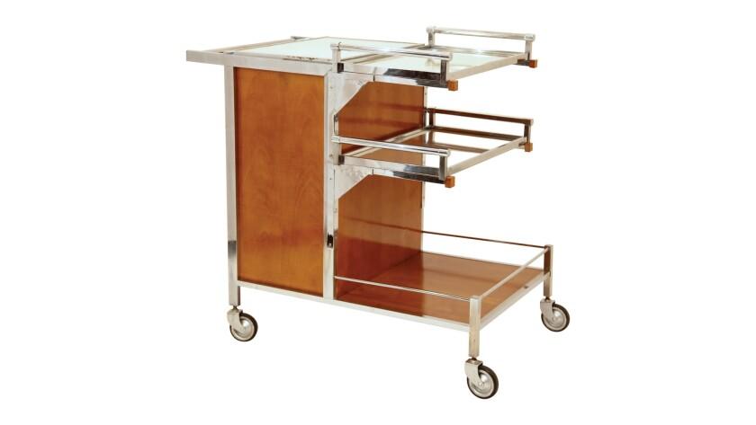 Art Deco/Modernism bar cart by Jacques Adnet, circa 1935, $10,279.83.