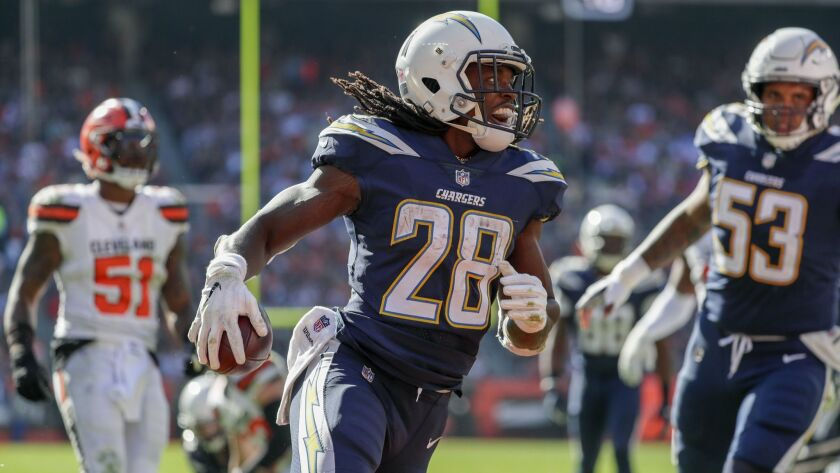 CLEVELAND, OHIO, SUNDAY, OCTOBER 14, 2018 - Chargers running back Melvin Gordon III smiles as he run