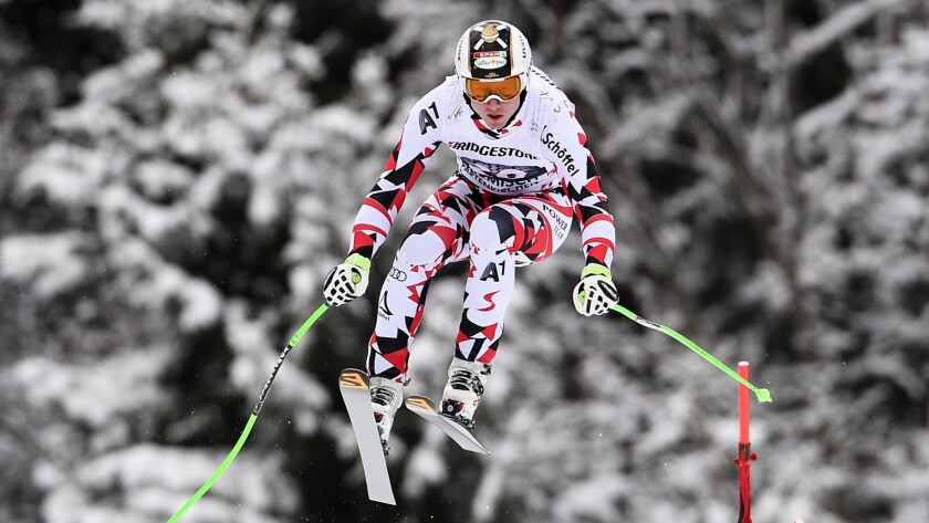 Hannes Reichelt competes during Saturday's World Cup downhill race in Germany.
