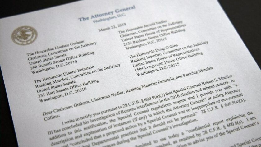 A copy of a letter from Attorney General William Barr advising Congress that Special Counsel Robert Mueller has concluded his investigation, is shown on March 22.