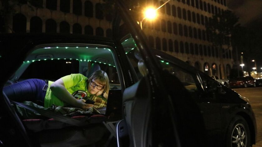 LOS ANGELES, CA - MAY 8, 2019 - - A 1 a.m. Jos Cashone, 28, works on social media for the upcoming U