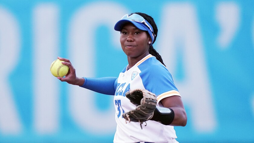 UCLA's Kinsley Washington fields the ball during a game against Alabama on Feb 14 in Clearwater, Fla.