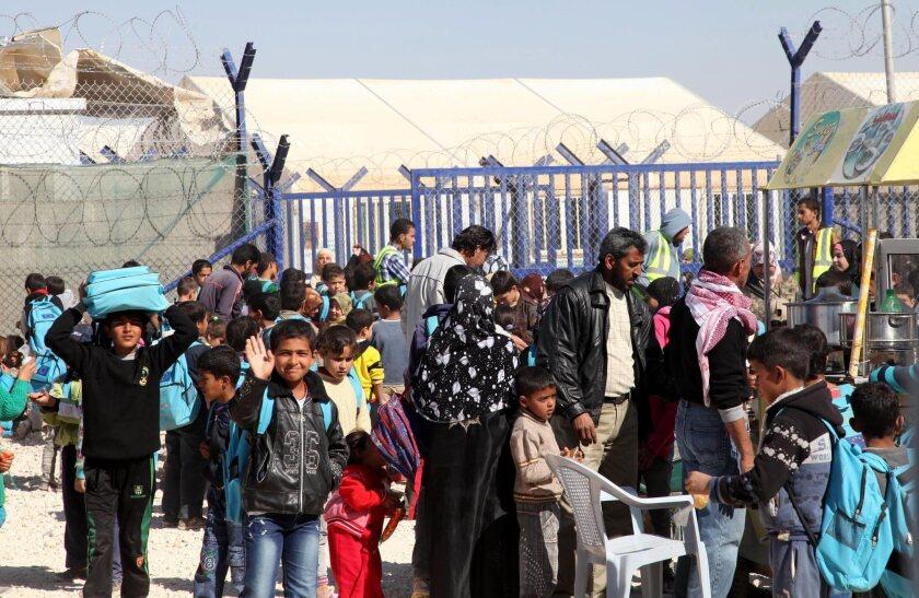 Syrian refugees at Zaatari camp