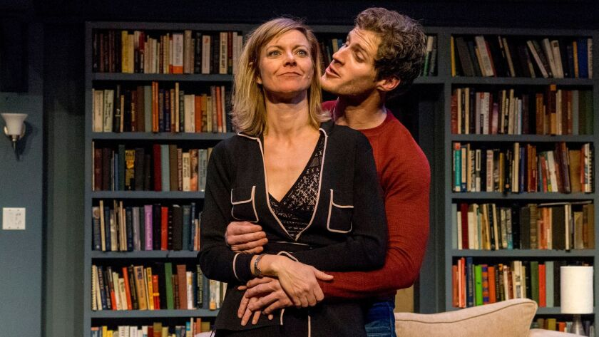 "Lisel Gorell-Getz and Connor Sullivan star in San Diego Rep's production of the Laura Eason play ""Sex With Strangers."""
