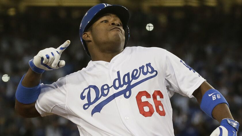 Dodgers outfielder Yasiel Puig hit .319 with 19 home runs and 42 RBIs during his sensational 2013 rookie season.