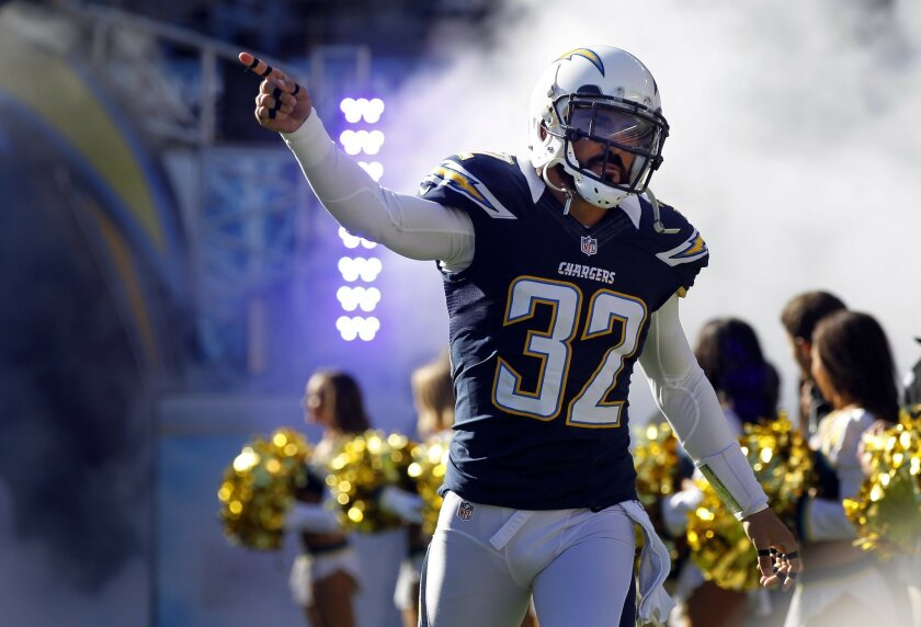 Chargers Eric Weddle runs out of the tunnel before the Bengals game on Sunday, Dec. 2, 2012.