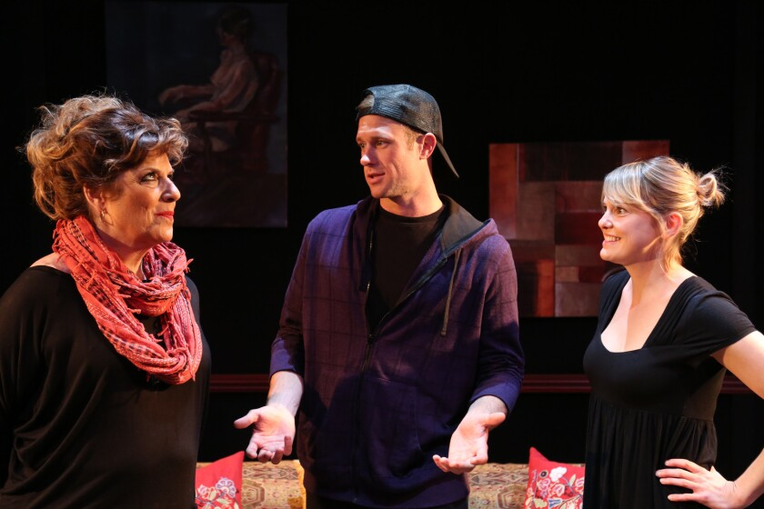 """Caroline Aaron, left, Trey McCurley and Larisa Oleynik in """"Be a Good Little Widow"""" at the NoHo Arts Center."""