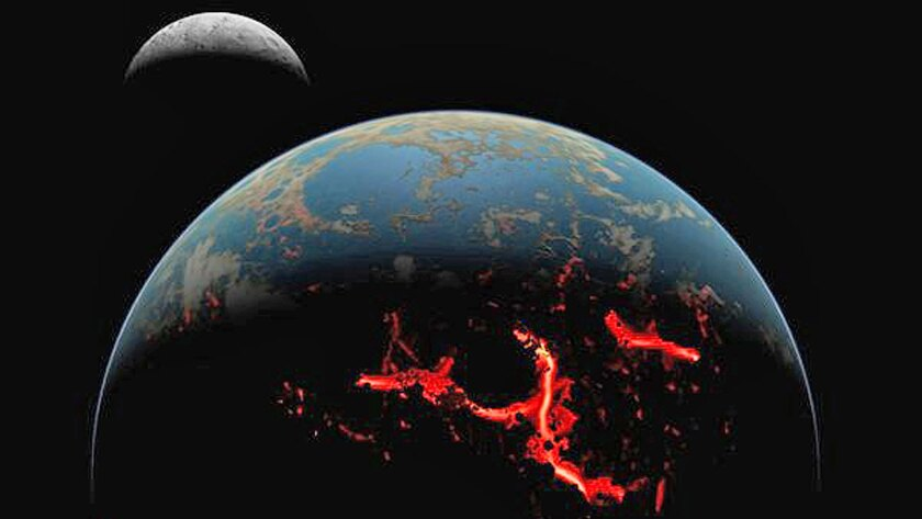 An artist's rendering of the early moon and Earth, which sustained many asteroid impacts.