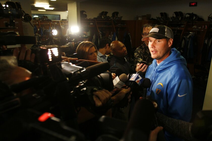 Chargers quarterback Philip Rivers talks to the media a day after losing to Kansas City.