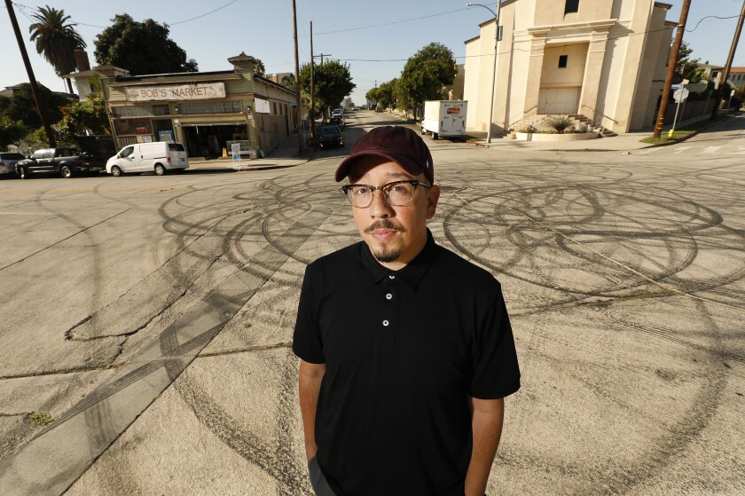 Author and entertainment journalist Shea Serrano, photographed in front of Bob's Market in Angelino Heights, during a recent trip to Los Angeles.