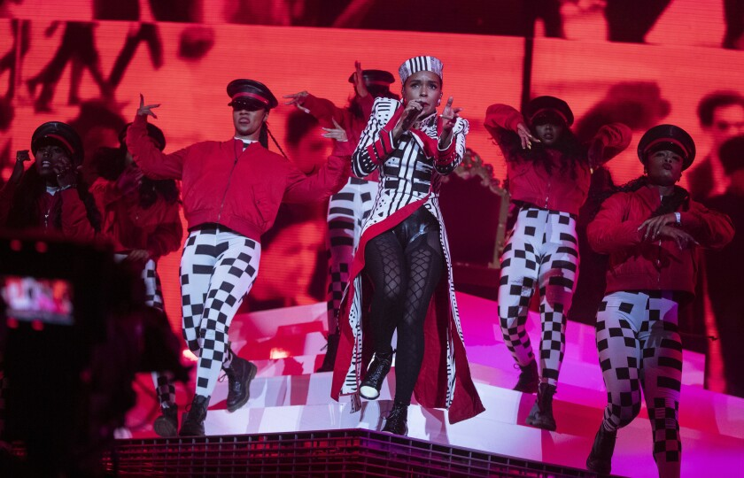 INDIO, CALIF. -- FRIDAY, APRIL 12, 2019: Janelle Monae performs on the Coachella stage at the Coach