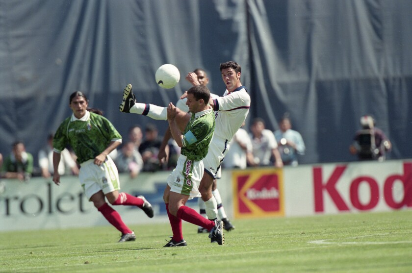 File photo of game action during the USA-Mexico soccer match at Qualcomm Stadium