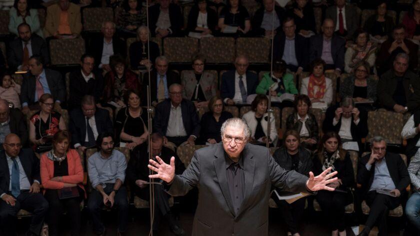 LOS ANGELES, CALIFORNIA - Jan. 27, 2019: Conductor Vatsche Barsoumian leads the Geghart Choir win t