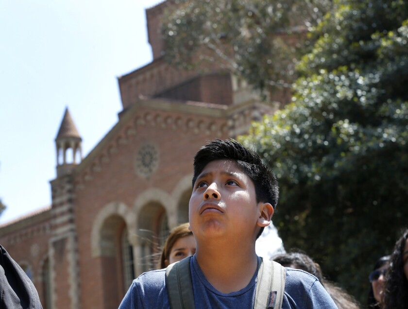 Jesus Perez, 13, an 8th grader from Mountain View Middle School in Moreno Valley, is an English-language learner. He's pictured here visiting the UCLA campus.