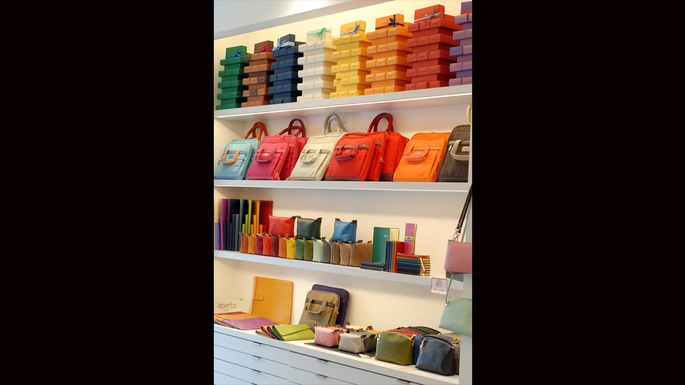 """""""I love color, and I love giving back, and it was my son who came up with the idea of marrying my two passions -- color and philanthropy -- into one shop,"""" says store owner Lori Samuels."""