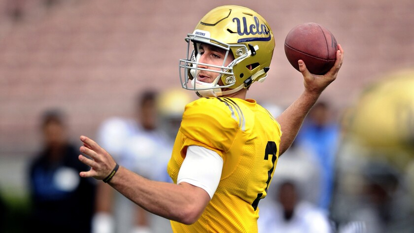 """Freshman quarterback Josh Rosen said after getting named UCLA's starter: """"There is a difference between confidence and arrogance, and I like to think I can dance that line pretty well."""""""