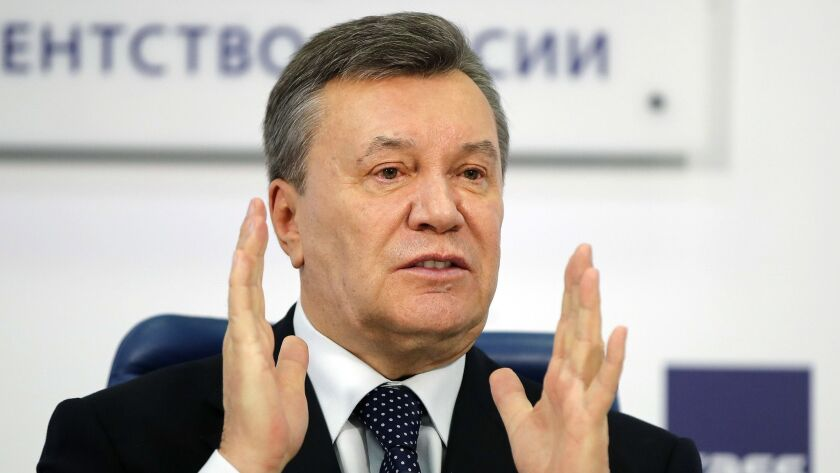 Former Ukrainian President Viktor Yanukovych was found guilty in absentia of treason and helping Russia annex the Crimean peninsula by a Kiev court Thursday.
