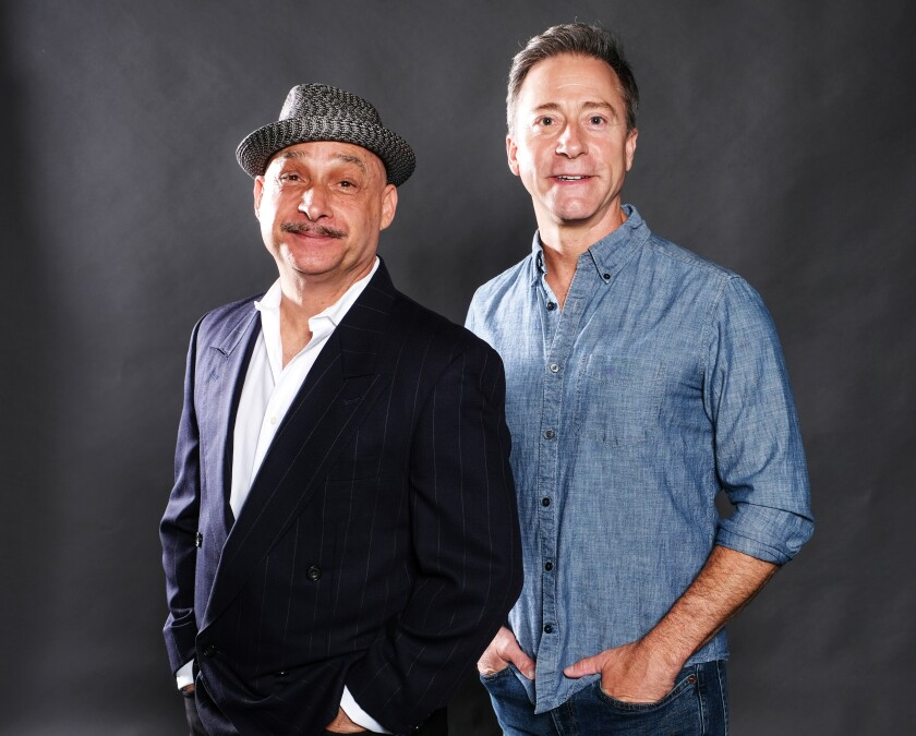 """Jamie Torcellini (left) plays Max Bialystock and Larry Raben is Leo Bloom in Moonlight Stage Productions' """"The Producers."""""""