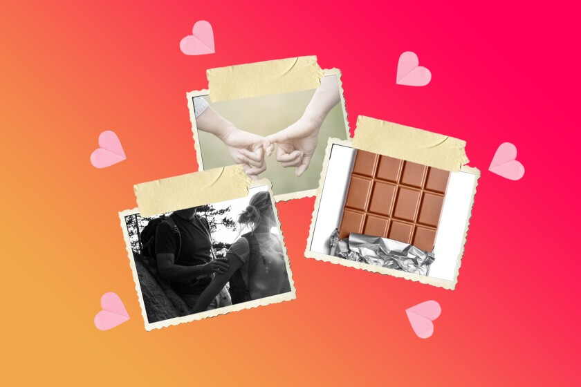 Photos of hands linking pinkies, a hiking couple and  a bar of chocolate, surrounded by hearts