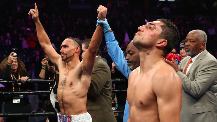 Keith Thurman celebrates his decision win against Josesito Lopez after their WBA welterweight title fight at the Barclays Center.