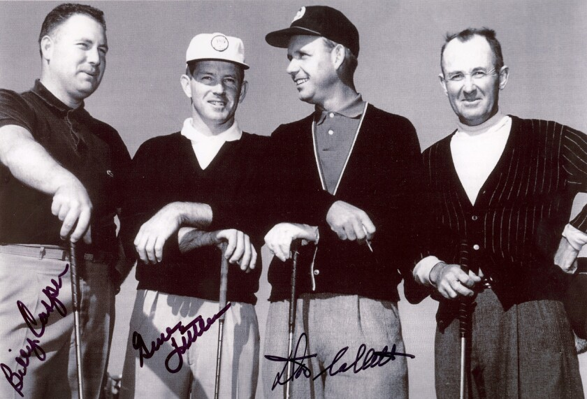 The first official foursome ever at Coronado in 1957 (from left), Billy Casper, Gene Littler, Don Collett and Paul Runyan.