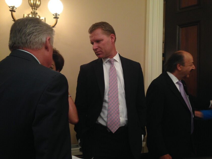 Assemblyman Chad Mayes (R-Yucca Valley), center, appears at a Assembly Republican caucus news conference on transportation funding on Monday.