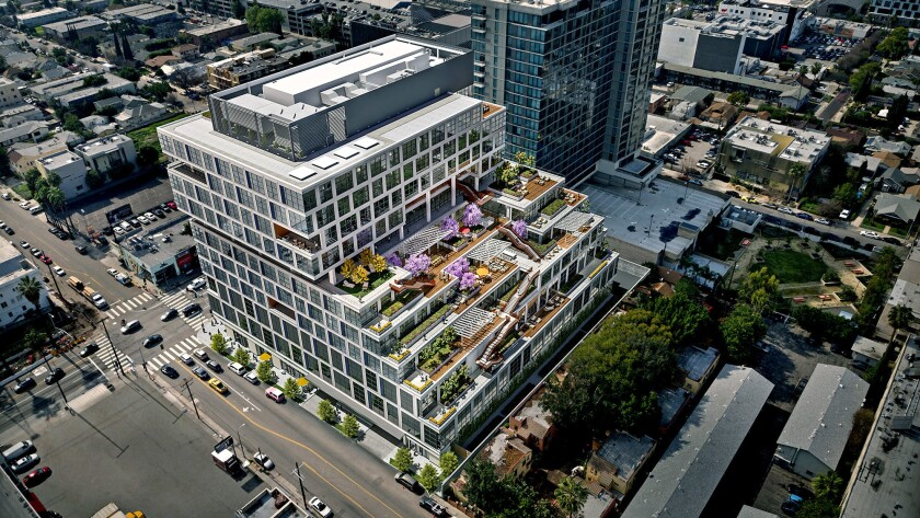 Epic, an office building under construction on Sunset Boulevard in Hollywood